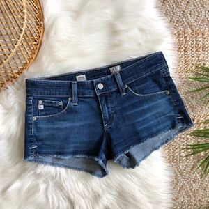 AG Low Rise Daisy Frayed Hem Denim Shorts 26